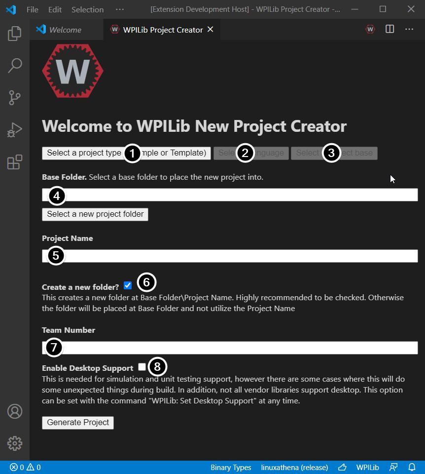 new project creator